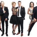 Vuoden 2018 Tanssii tähtien kanssa -finaalissa tanssiparketin valloittavat Ansku Bergström (vas.) ja Tuure Boelius, Kia Lehmuskoski ja Hannes Suominen sekä Katri Mäkinen ja Edis Tatli.