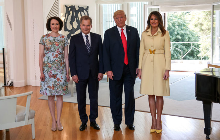 President of the Republic of Finland Sauli Niinistö and Mrs Jenni Haukio welcomed the President of the United States of America Donald Trump and and Mrs Melania Trump to Mäntyniemi Residence in Helsinki. During the presidents' meeting, Mrs Haukio and Mrs Trump are scheduled to gather for a joint breakfast. Photo: Matti Porre/Office of the President of the Republic of Finland