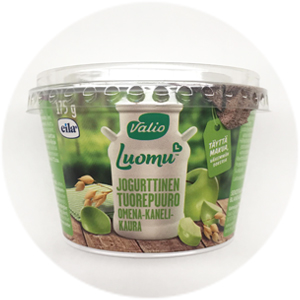 Voittaja! Valio Luomu jogurttinen tuorepuuro omena-kaneli-kaura: 3+/5