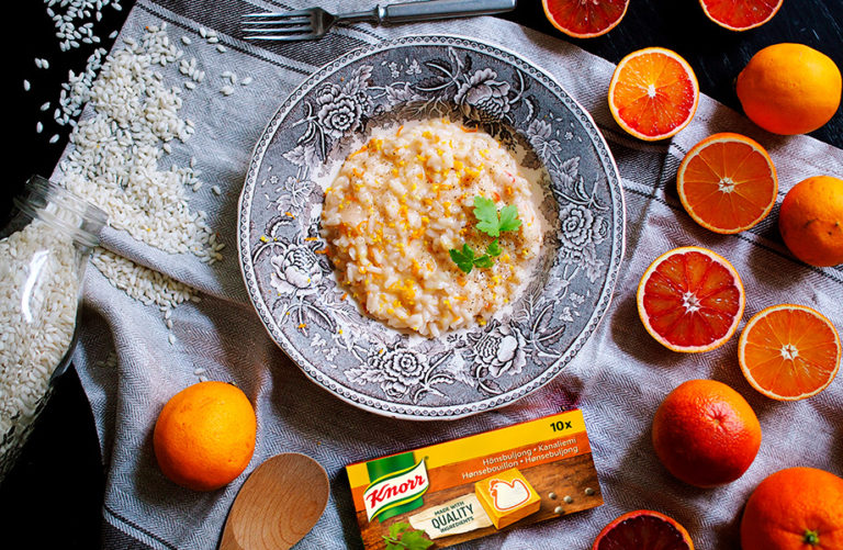 Veriappelsiinirisotto ja Knorr liemikuutio