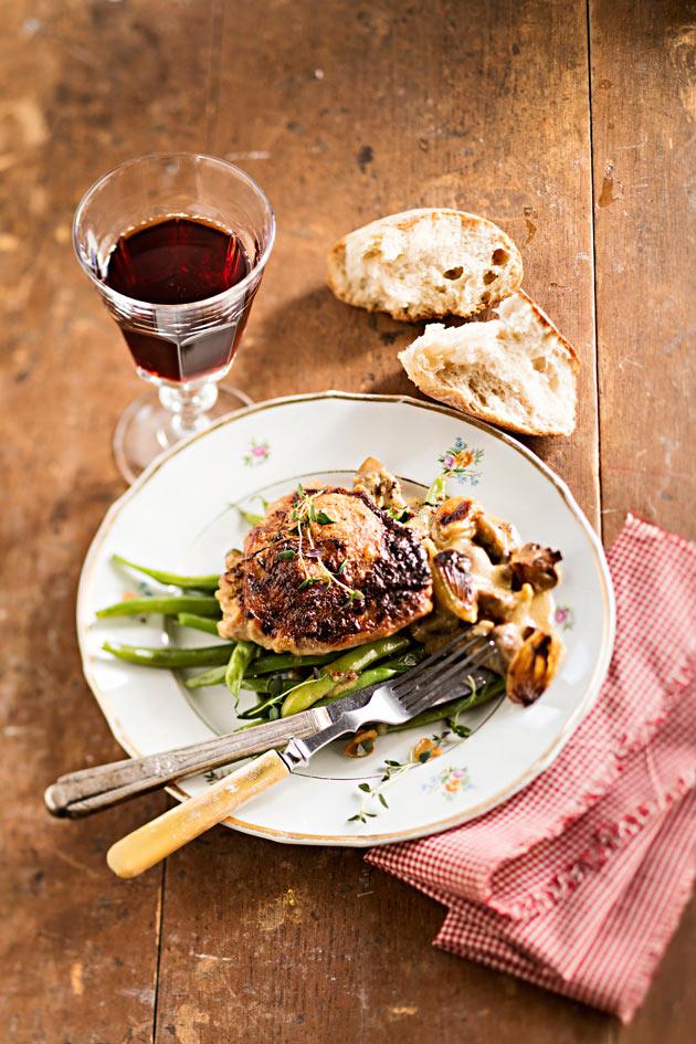 Dijonin broileria ja valkosipulipapuja