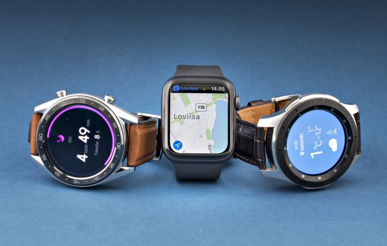 Tekniikan Maailman vertailussa mukana olleet älykellot: Huawei Watch GT, Apple Watch Series 4 ja Samsung Galaxy Watch.