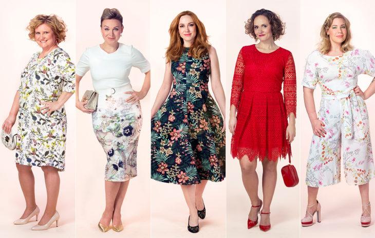 Annan toimituksen naiset poseerasivat erilaisissa juhlamekoissa ja mekkoa muistuttavassa haalarissa vuonna 2017.