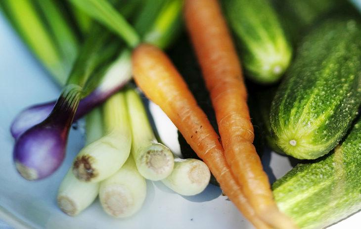 Heinäkuun satokausikasviksiin kuuluu mm. avomaankurkku, porkkana, purjo- ja punasipuli.
