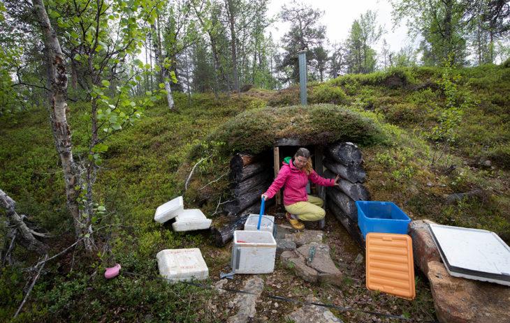Terhi Telilä purkaa mukanaan tuomia kesän ruokavarastoja maakellariin.