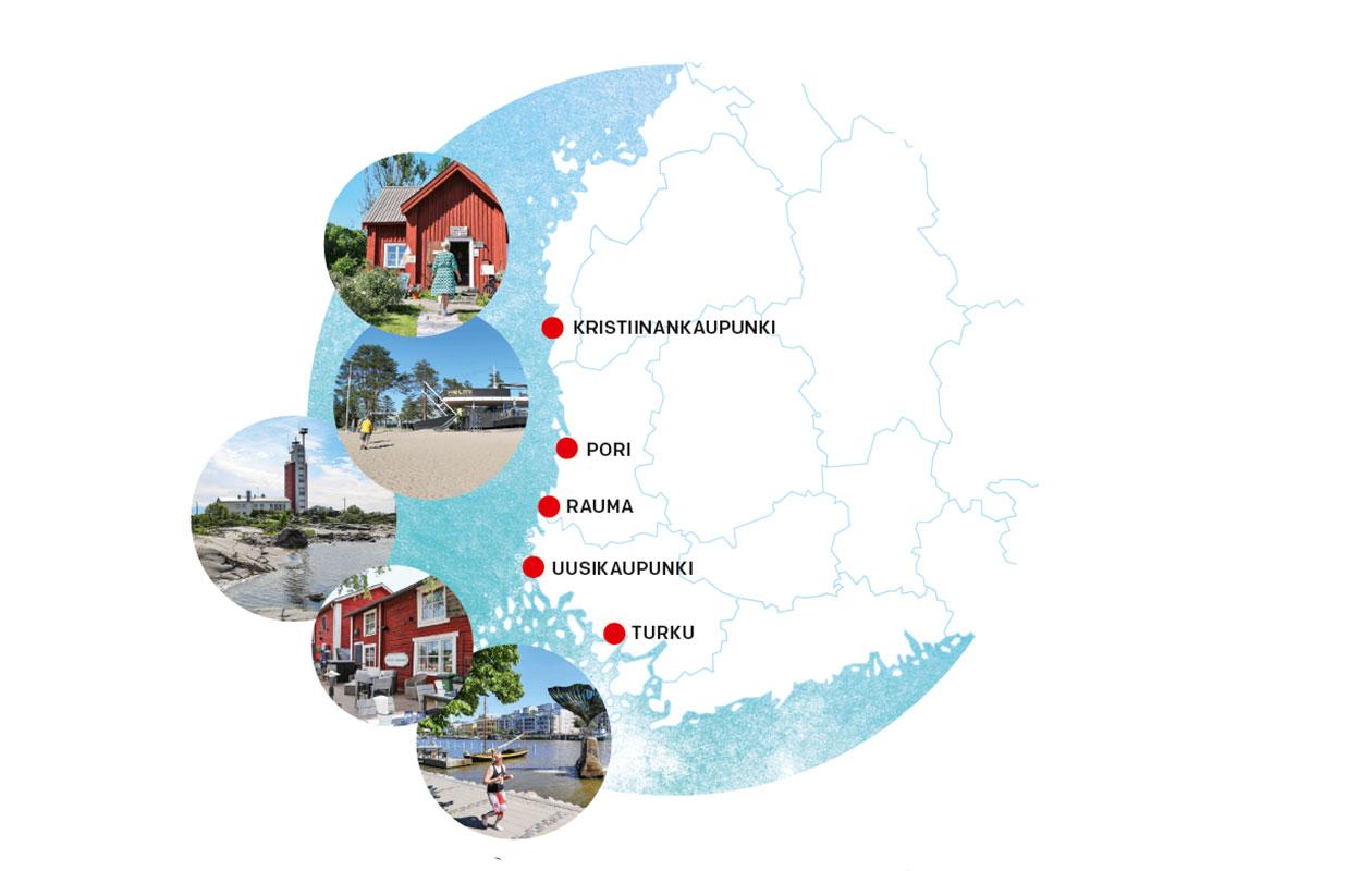 Kesän suloisin reitti kulkee Turusta Uuteenkaupunkiin, Raumalle, Poriin ja Kristiinankaupunkiin.