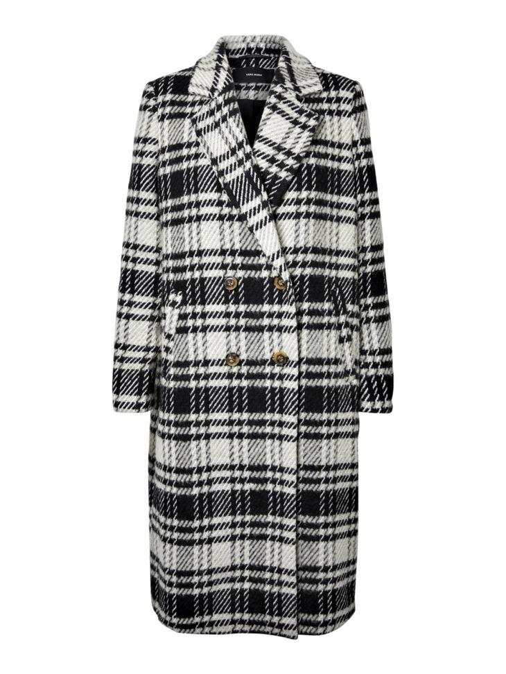 Takkikisa. Mustavalkoinen, ruudullinen villasekoitetakki, 89,99 e, Vero Moda. Koot XS–XL.