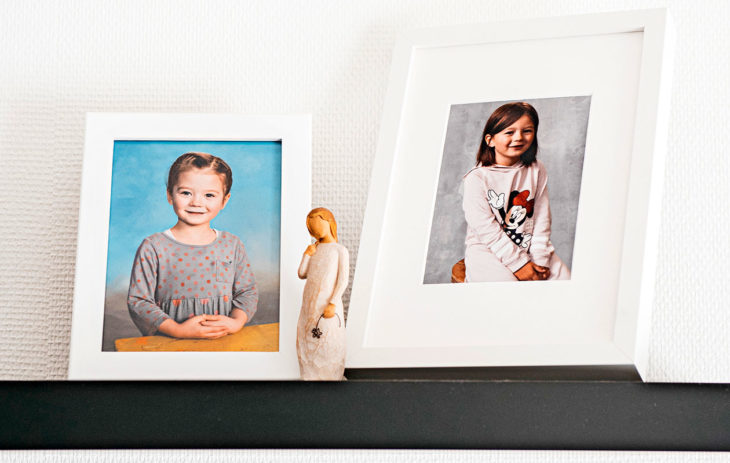 Veeran kuvia on esillä uuden kodin olohuoneessa. Vasemmanpuoleisessa kuvassa hän on neljävuotias, oikeanpuoleinen otettiin reilu vuosi sitten eskarissa.