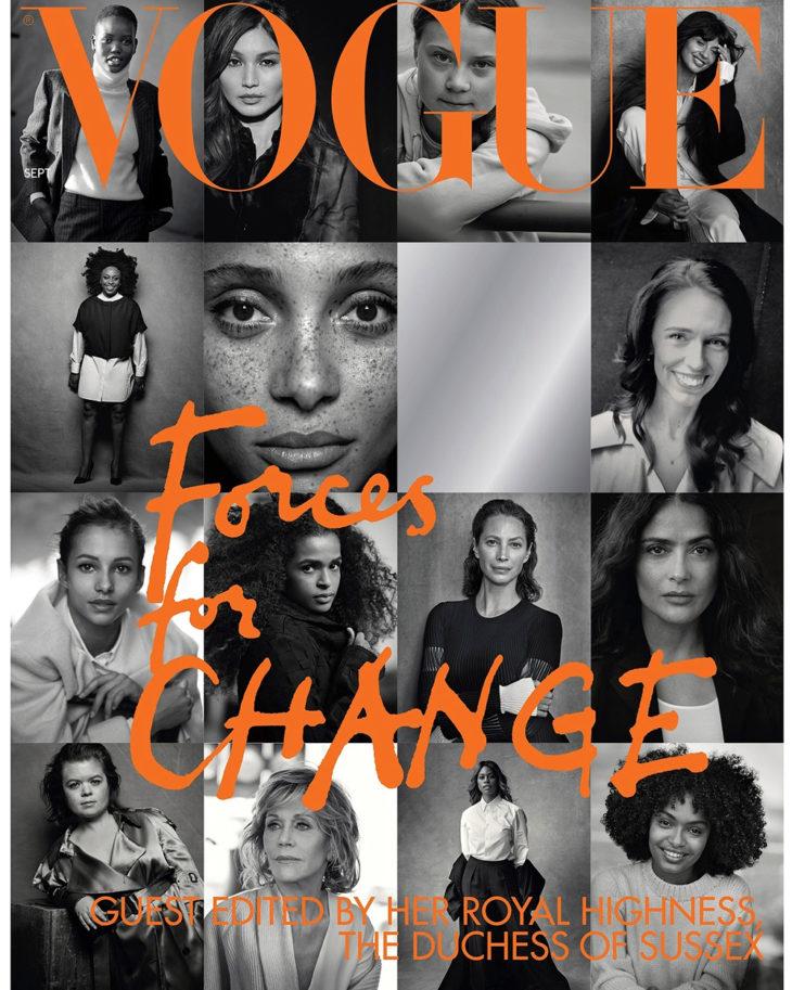 Meghan vieraili Voguen päätoimittajana ja oli mukana tekemässä syyskuun numeroa.