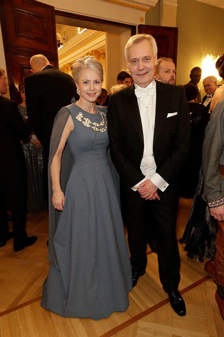 Heta Ravolainen-Rinne ja Antti Rinne Linnan juhlissa 2019.