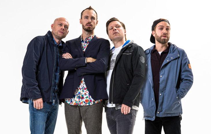 Matti (Iikka Forss), Tuomas (Tommi Rantamäki, Jarkko (Eero Milonoff) ja Pete (Jarkko Niemi)