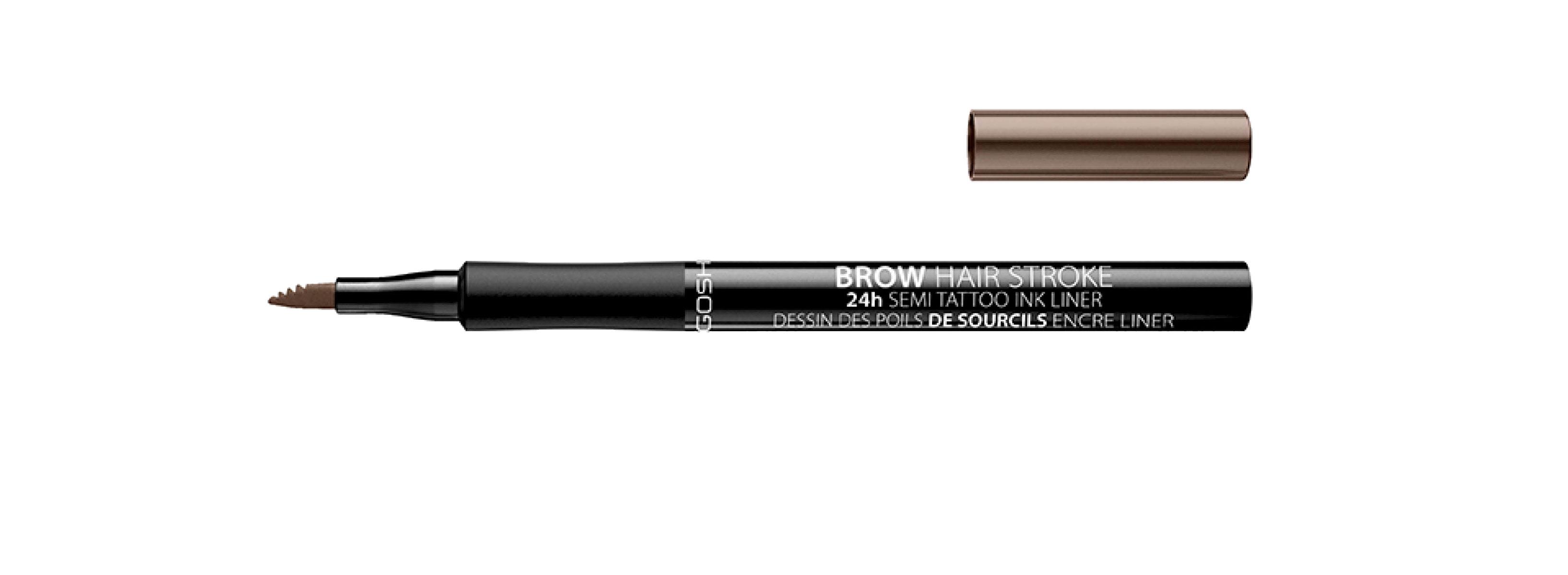 Gosh Brow Hair Stroke 24h Semi Tattoo Ink Liner -kulmatussi, sävy 002 Greybrown, 15,50 e.