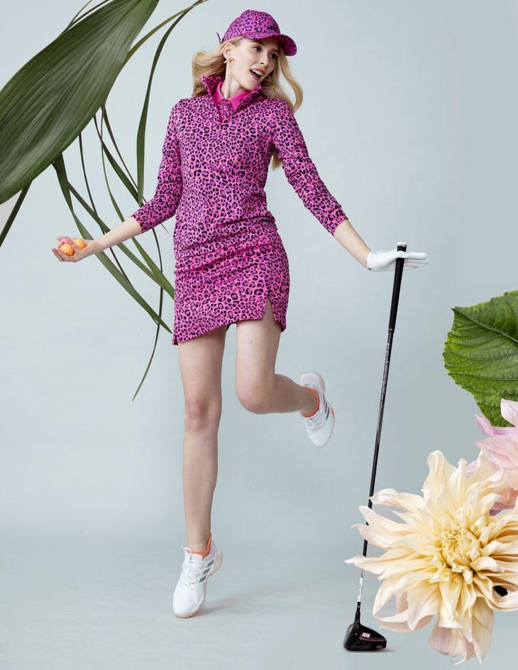 Sähäkkä golfmuoti leikittelee kuvioilla.