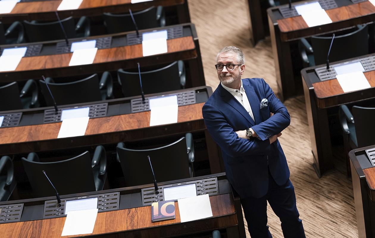 Kansanedustaja Marko Kilpi eduskunnassa.