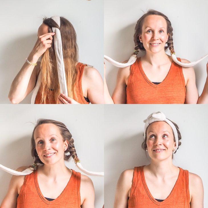 Kiharat hiukset: kiharat kylpytakin vyöllä.
