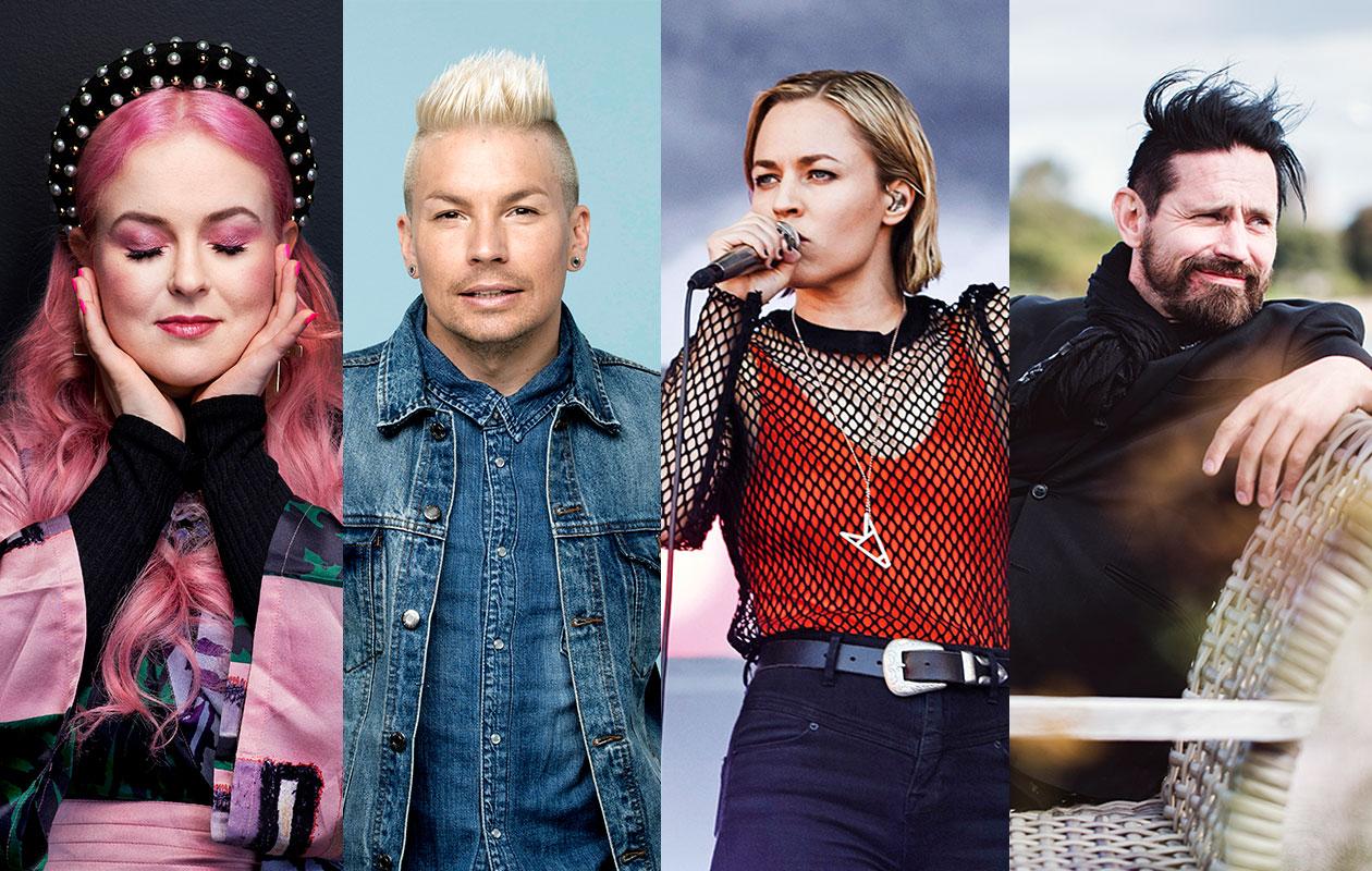 2010-luvun hitit sisälsivät paljon kotimaisia artisteja. Kuvassa vasemmalta lähtien Ellinoora, Antti Tuisku, Vesala ja Lauri Tähkä.