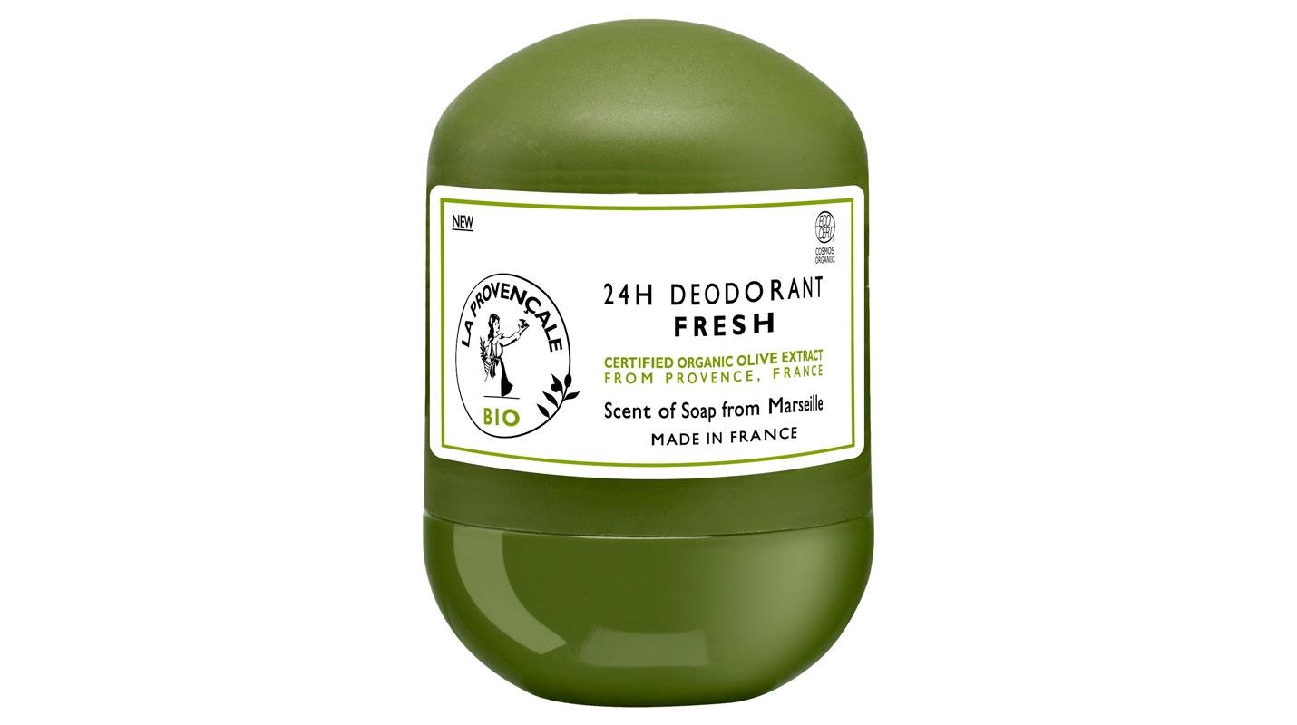 La Provençale Bio Fresh 24 H -deodorantilla on Ecocert Greenlife Cosmos -luomusertifiointi, 50ml 6e.