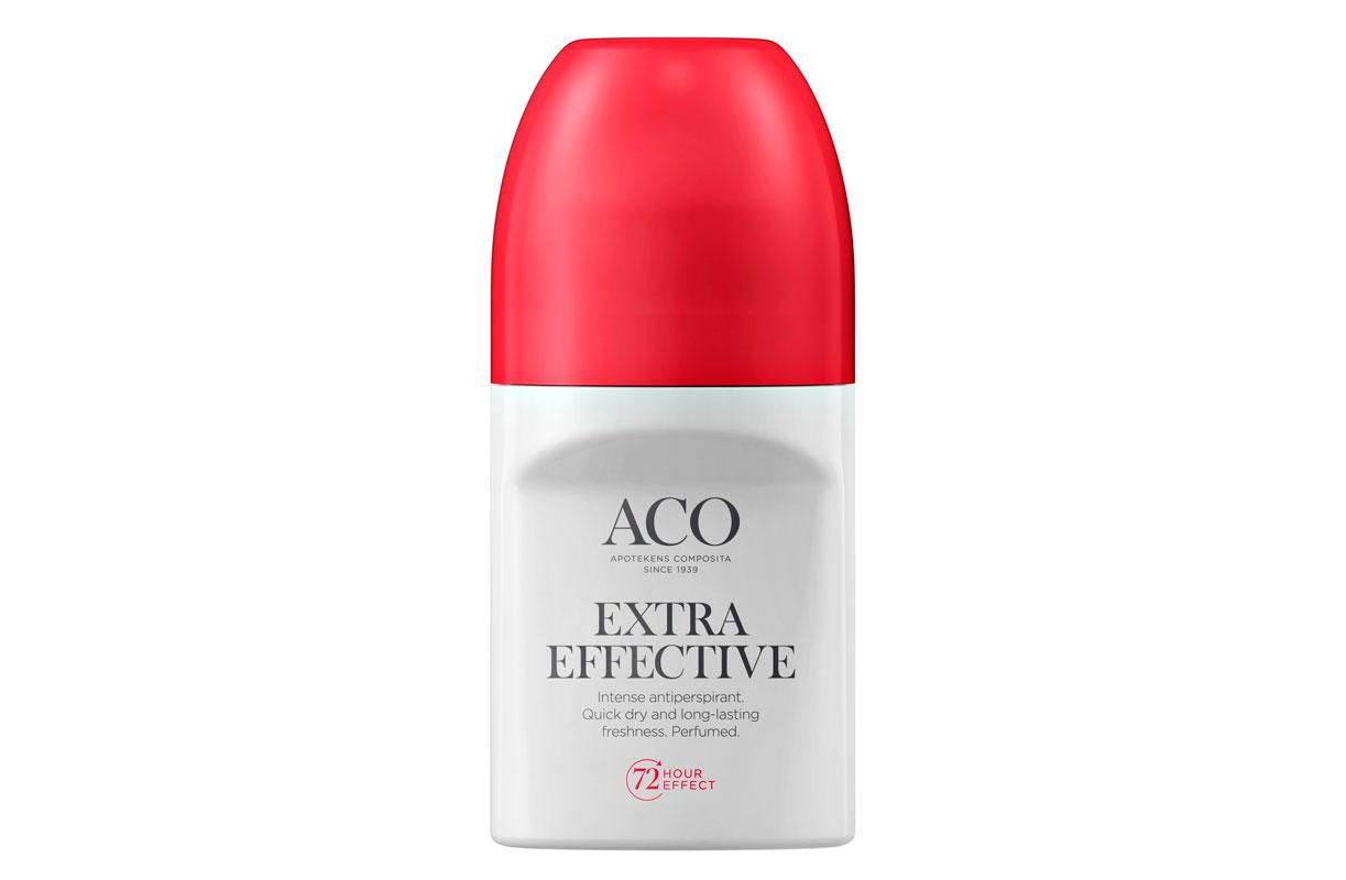 Aco Deo Extra Effective -antiperspirantti ei jätä valkoisia tahroja vaatteisiin, 50ml 8e.