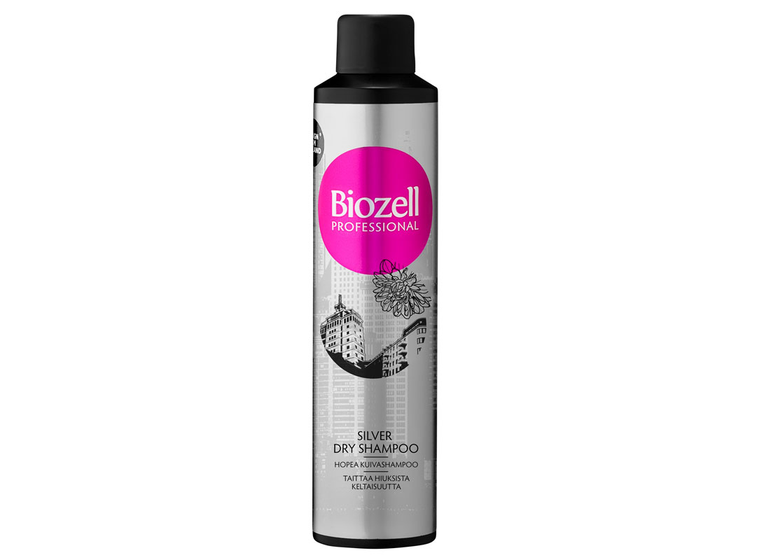 Biozell Silver -kuivasampoo raikastaa hiuksia, antaa volyymia sekä viilentää vaaleiden hiusten sävyä, 300ml 9e.