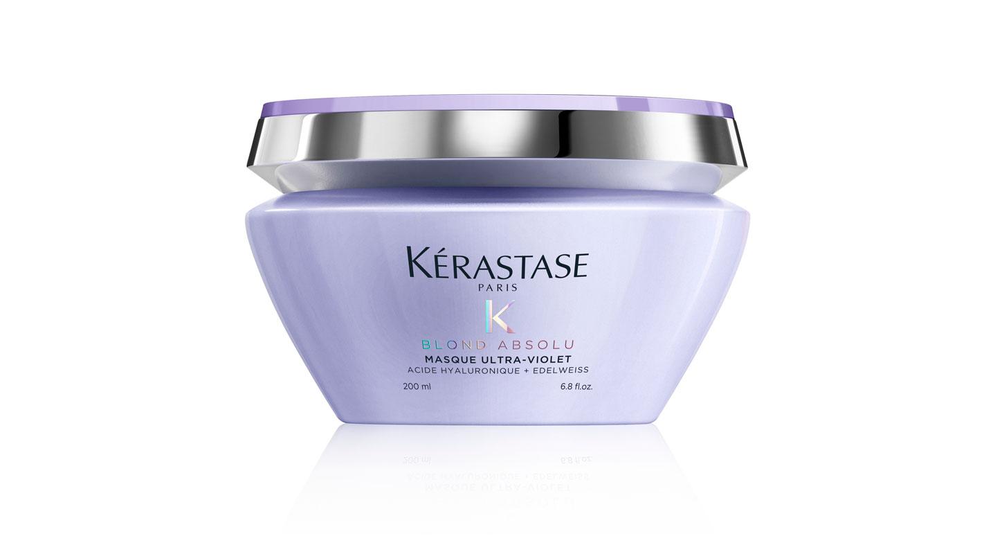Kérastase Blond Absolu Masque Ultra-Violet -hiusnaamio taittaa lämpimiä sävyjä ja rakennepaikkaa vaalennuksen haurastamia hiuksia, 200ml 51e.