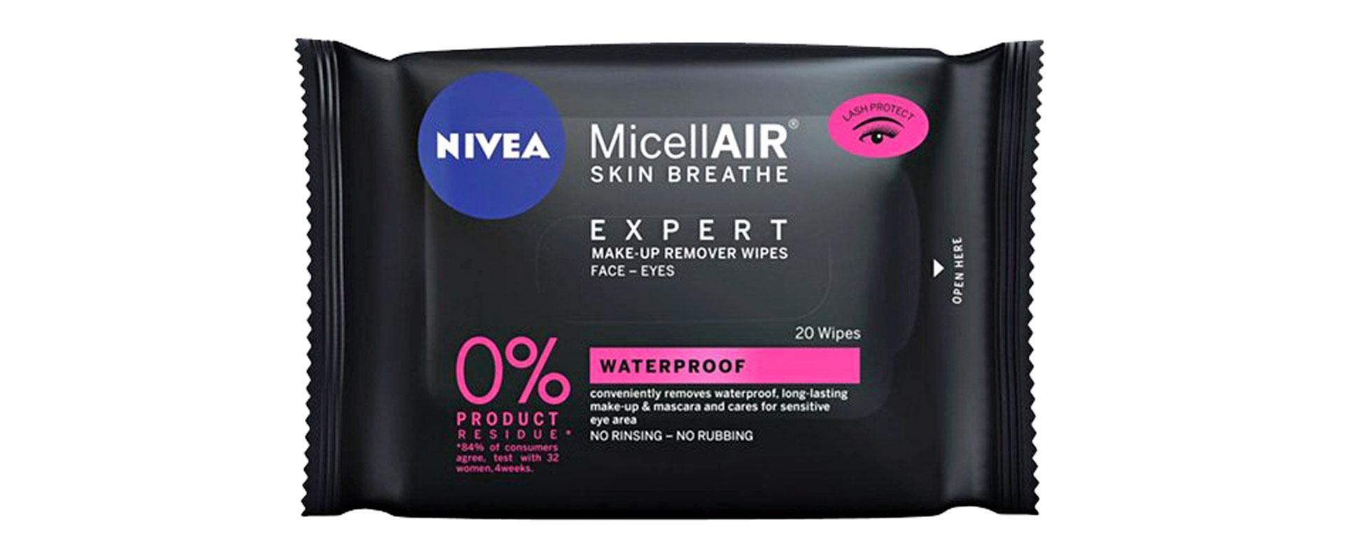 Nivea MicellAir Expert Make-Up Remover Wipes -puhdistusliinat poistavat myös vedenkestävän meikin, 20 kpl 4,50e.