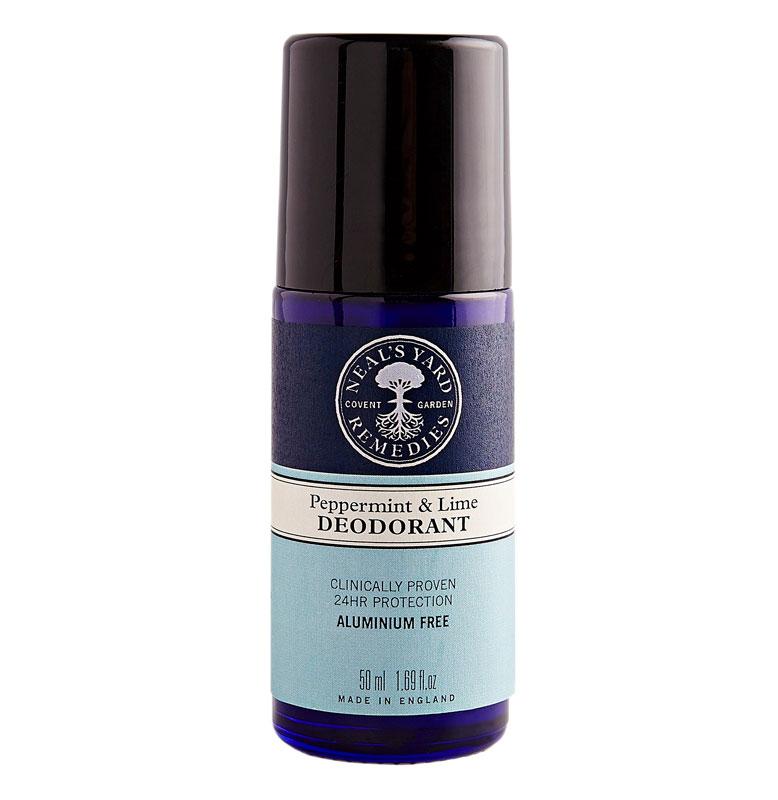 Neal's Yard Remedies Peppermint & Lime -deodorantti torjuu kosteutta kasviperäisen sikimihapon ja bambujauheen avulla. Eteeriset öljyt torjuvat hajuja, 50ml 14e.