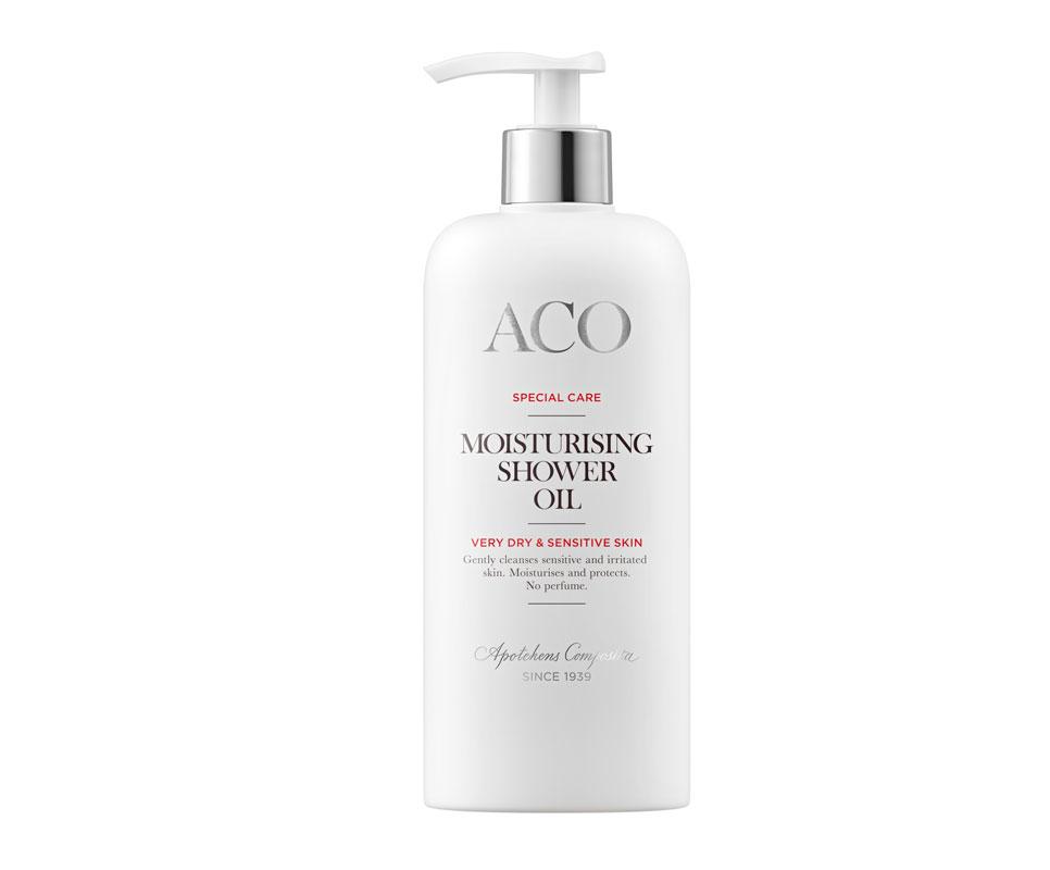 Aco Moisturising Shower Oil -suihkuöljy syväkosteuttaa ihoa ja puhdistaa hellästi, 300ml 12e.