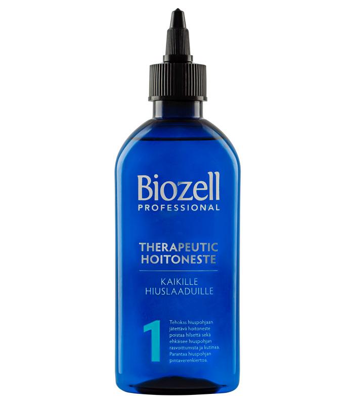 Hiuspohjaan jätettävä Biozell Professional Therapeutic 1 -hoitoneste ehkäisee kutinaa ja hilsettä ja virkistää hiuspohjaa, 200ml 5e.