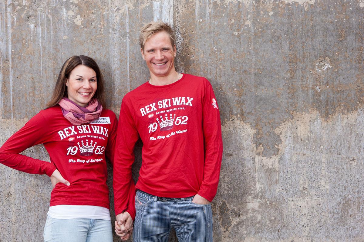 Mona-Liisa Nousiainen ja Ville Nousiainen vuonna 2013. Sinä vuonna Mona-Liisa palasi vielä hiihdon huipulle.