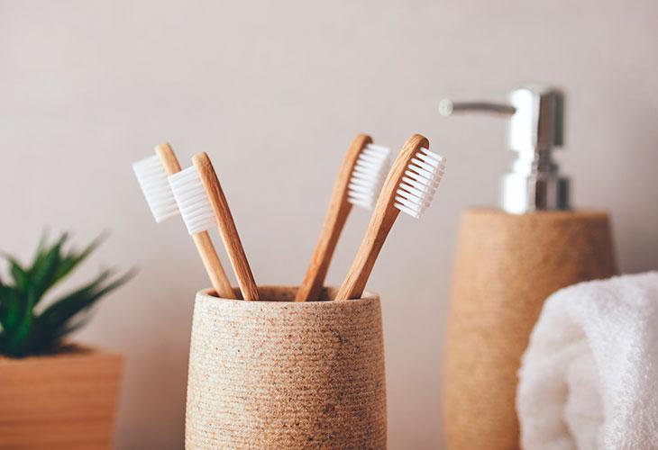 Hiusharjan pesu onnistuu myös hammasharjalla. Kuvassa hammasharjoja.
