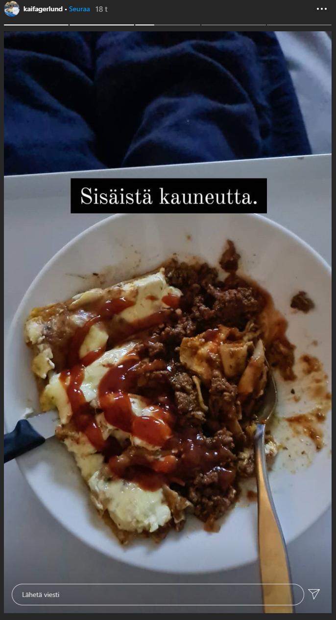 Lasagneresepti leviää tällä hetkellä sosiaalisessa mediassa. Kuva kuvakaappaus Selviytyjät Suomi -voittaja Kai Fagerlundin Instagram-tarinasta.