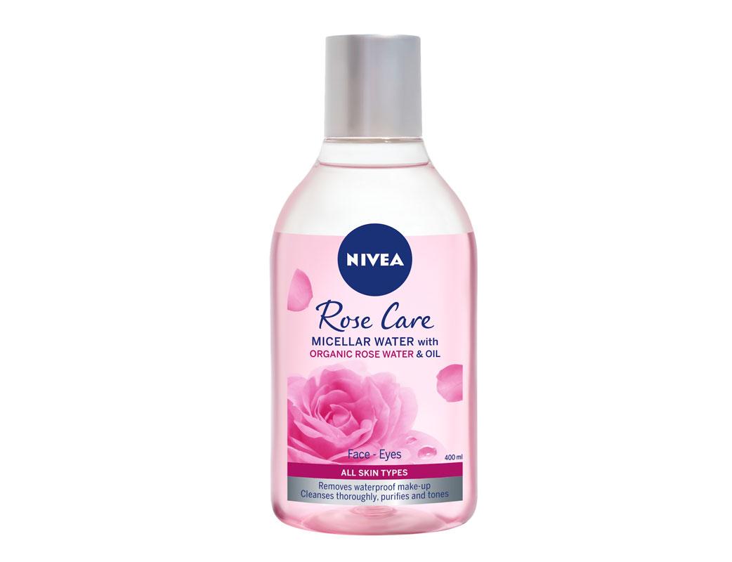 Pyyhkäise iho illalla puhtaaksi Nivea Rose Care Micellar Water -misellivedellä, joka myös kosteuttaa ihoa. Rentouttava tuoksu, 400ml 9e.