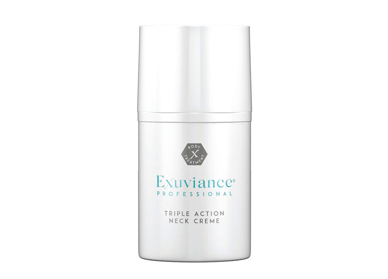 Exuviance Professional Triple Action Neck Creme -voide kosteuttaa, kiinteyttää ja silottaa kaulan ja dekolteen ihoa. Jatkuvassa käytössä se myös tasoittaa pigmenttimuutoksia, 50ml 54e.