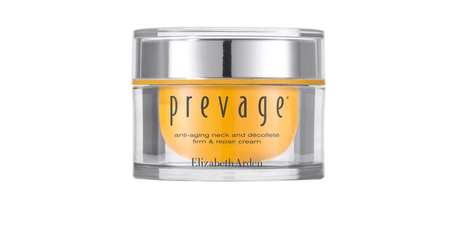 Jäntevyyttä, kiinteyttä ja kosteutta iholle lupaa Elizabeth Arden Prevage Anti-Aging Neck & Decolleté -voide, joka jatkuvassa käytössä myös haalistaa pigmenttiläiskiä, 50ml 115e.