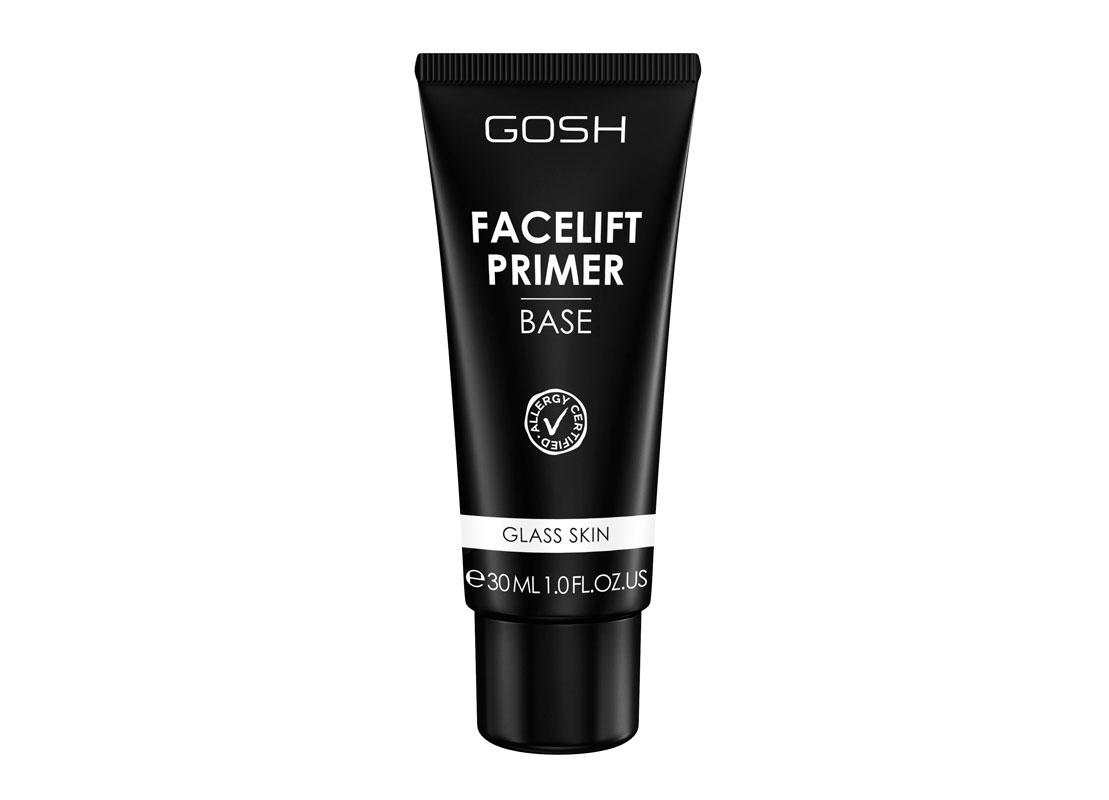 Gosh Facelift Primer Glass Skin -pohjustusvoide kirkastaa ihon väriä ja kiinteyttää ihoa, 22 e.