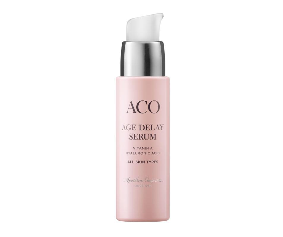 Hajusteeton Aco Face Age Delay -kosteuttava seerumi sisältää hyaluronihappoa, joustavuutta ja kiinteyttä lisäävää A-vitamiinia ja suojaavaa E-vitamiinia, 30ml 25e.
