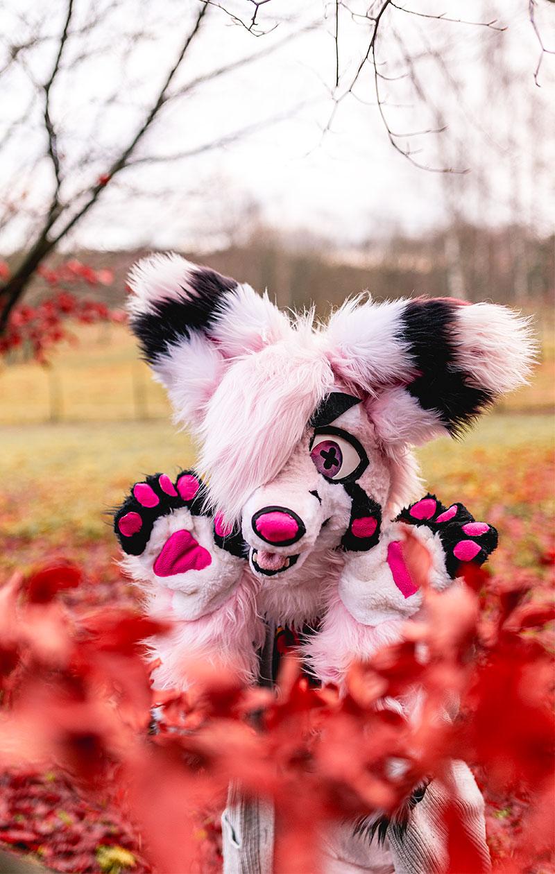 Riko Karri pukeutuneena vaaleanpunaiseen fursuittiin.