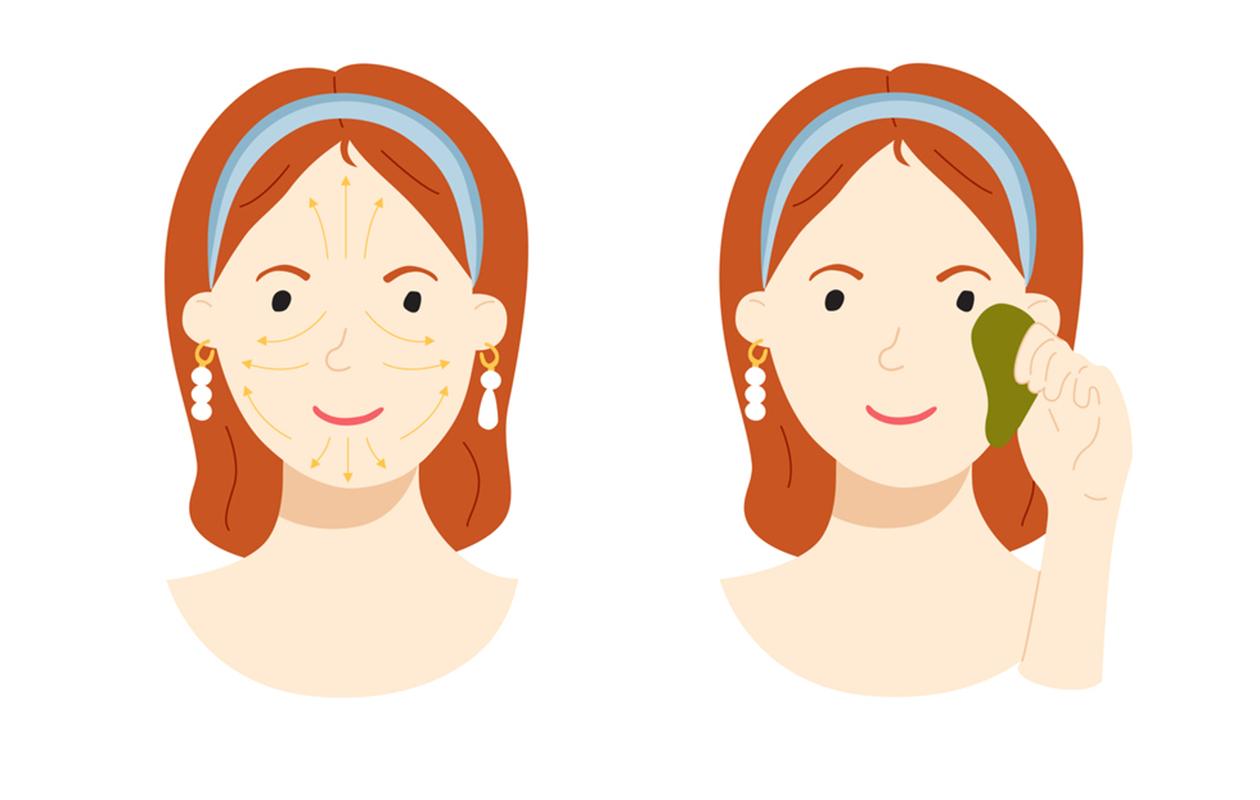 Kosmeettinen gua sha -hoito tehdään sivelemällä kasvot ylös- ja ulospäin suuntautuvin liikkein.