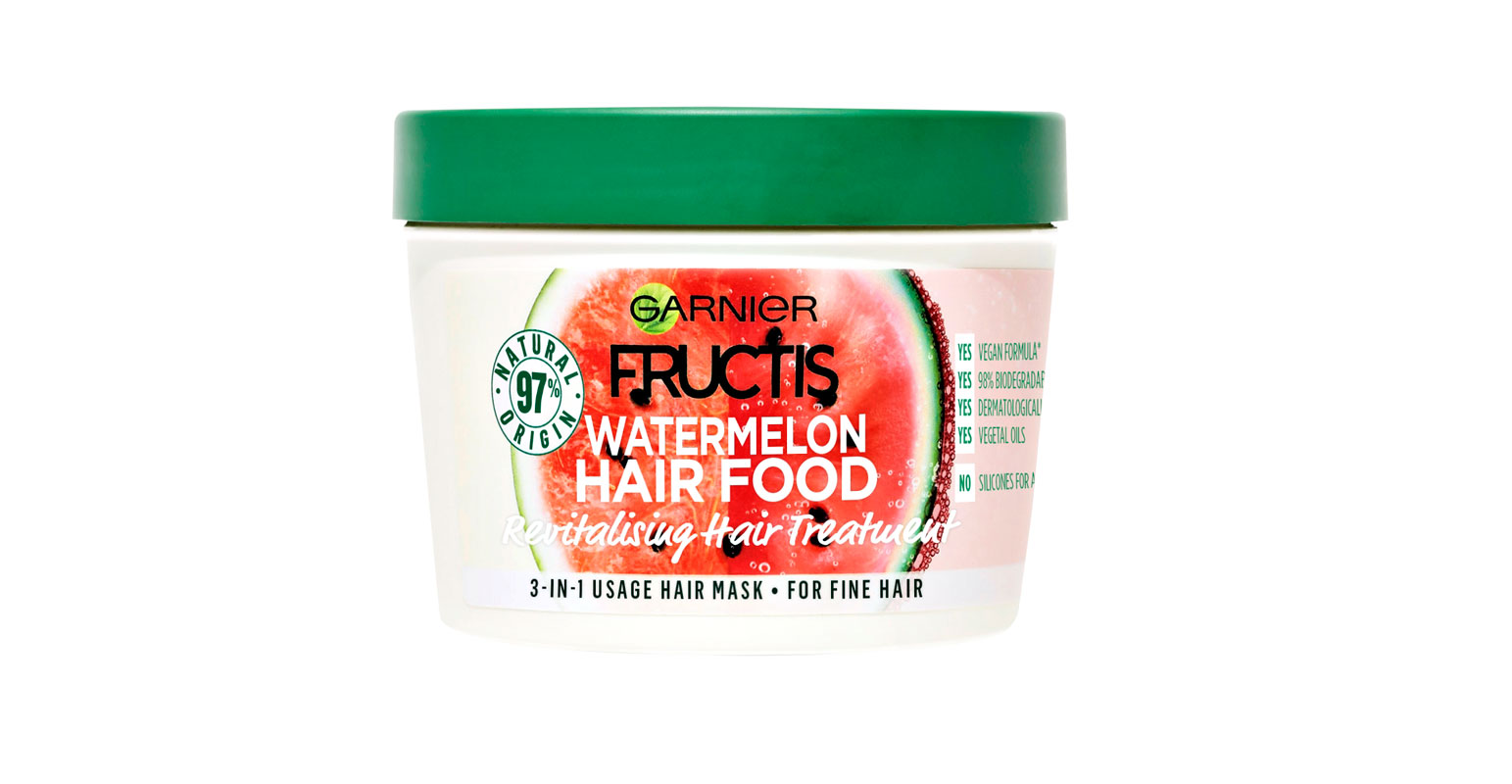 Garnier Fructis Watermelon Hair Food -hiusnaamio on kehitetty etenkin hennoille hiuksille, 390 ml 8 e.