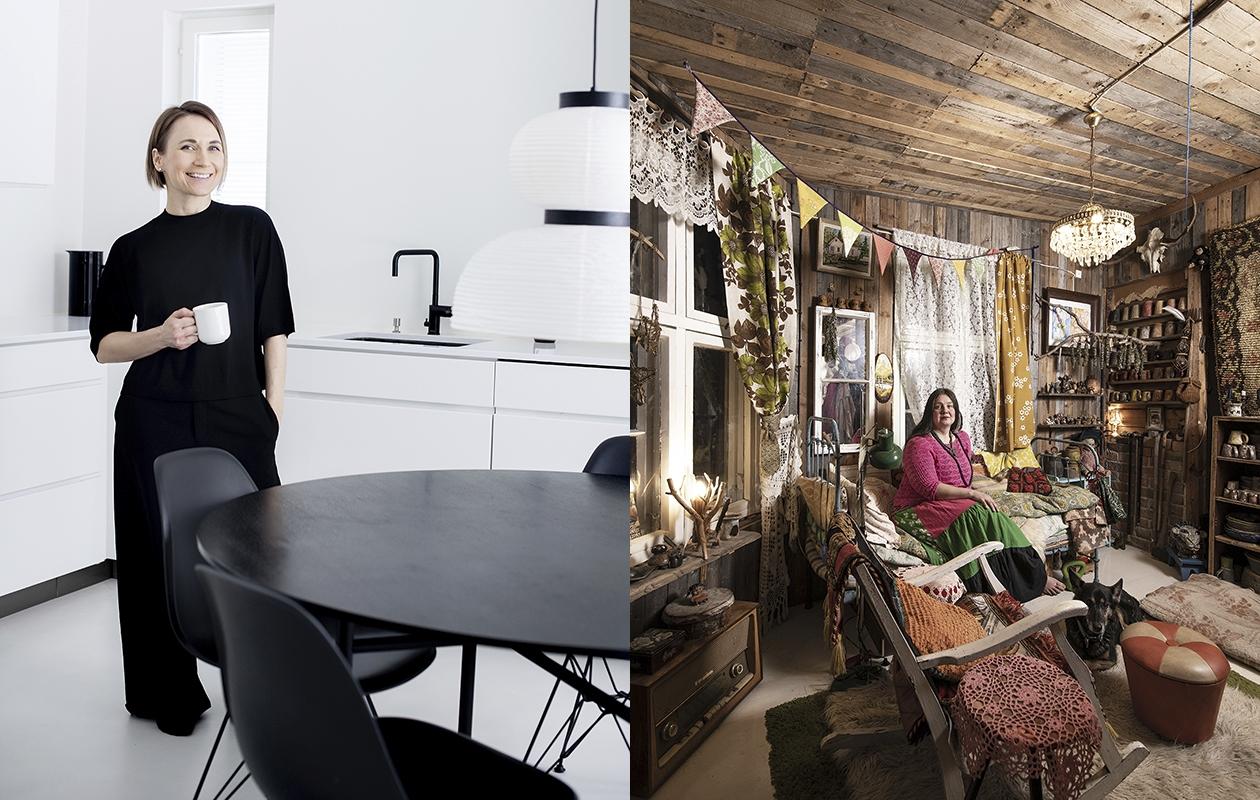 Tiina Ilmavirran keittiössä on esillä kaksi kodinkonetta. Kaikilla muilla tavaroilla on paikkansa kaapeissa ja laatikoissa. Peikkomäen valtiatar Rukka Lindberg ottaa vieraat vastaan eteisen divaanilla.