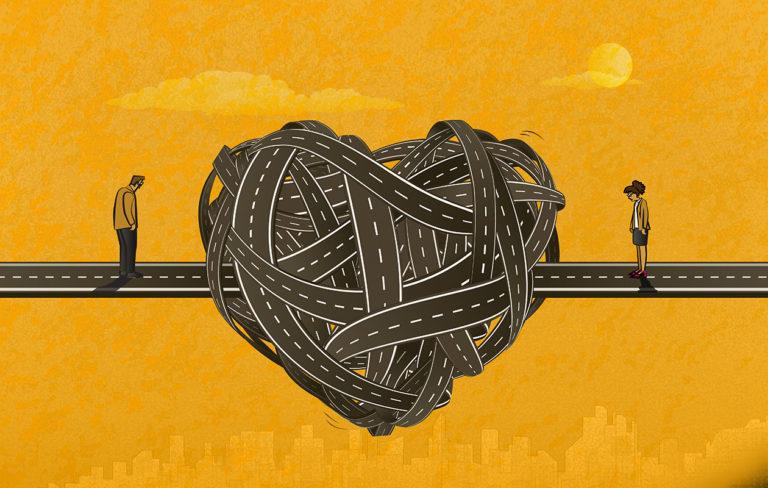 Pariterapia vaatii luottamusta. Kuvituskuvassa sydän, joka on solmussa.