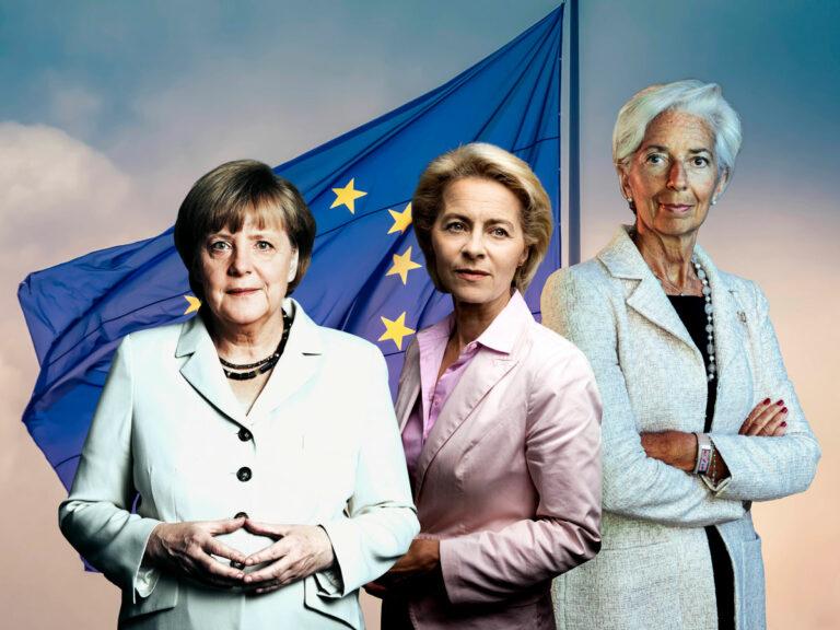 Saksan liittokansleri Angela Merkel, Euroopan komission puheenjohtaja Ursula von der Leyen ja Euroopan keskuspankin johtaja Christine Lagarde.