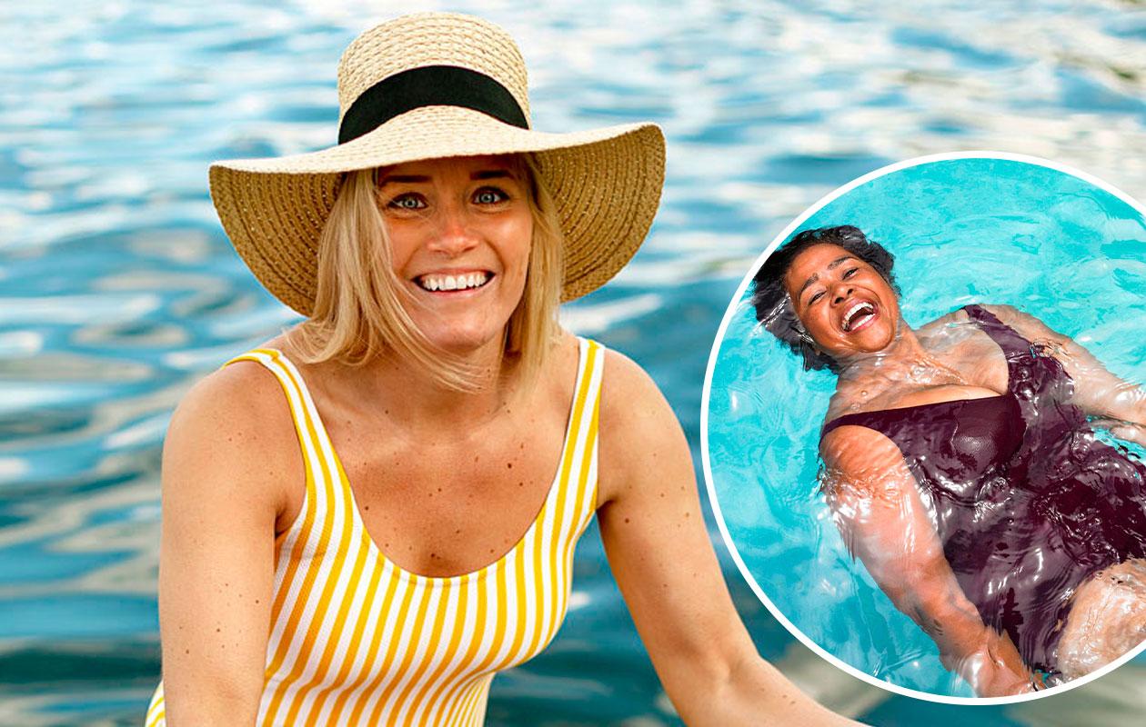 Kuva naisesta keltaisessa uimapuvussa. Toisessa kuvassa nainen viininpunaisessa uimapuvussa.