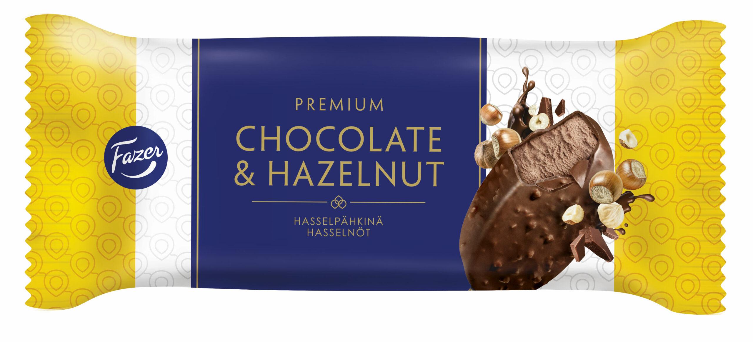 Fazer Premium hasselpähkinä -jäätelön kääre.