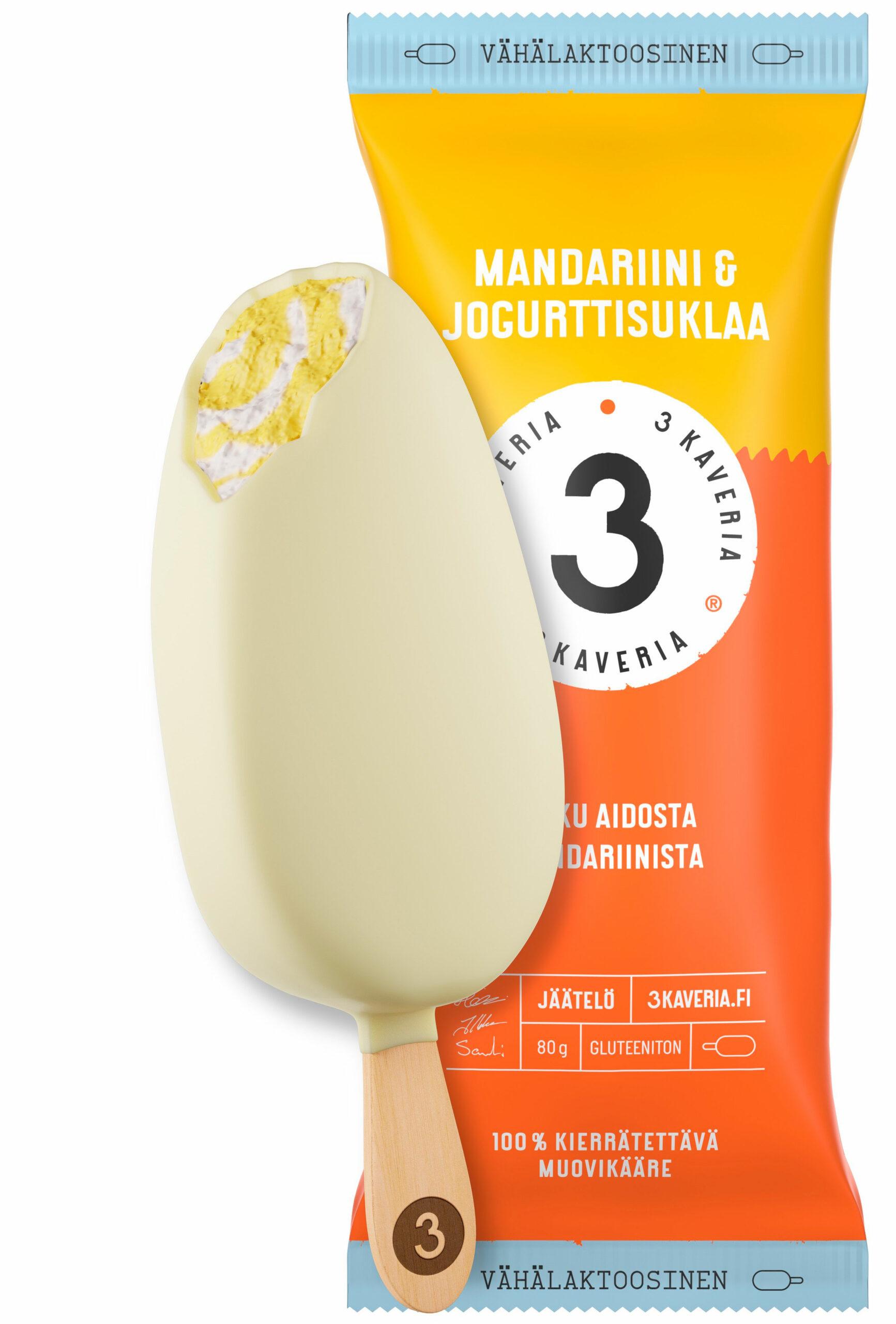Uutuusjäätelötesti: 3 kaverin mandariini & jogurttisuklaa -puikko ja -kääre