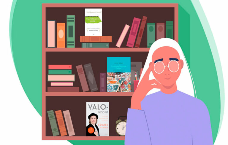 Piirretty kuva ihmisestä kirjahyllyn edessä. Hyllyssä näkyy self help -kirjoja.