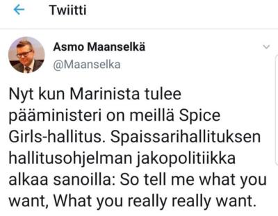 Screenshot Asmo Maanselän twiittauksesta.