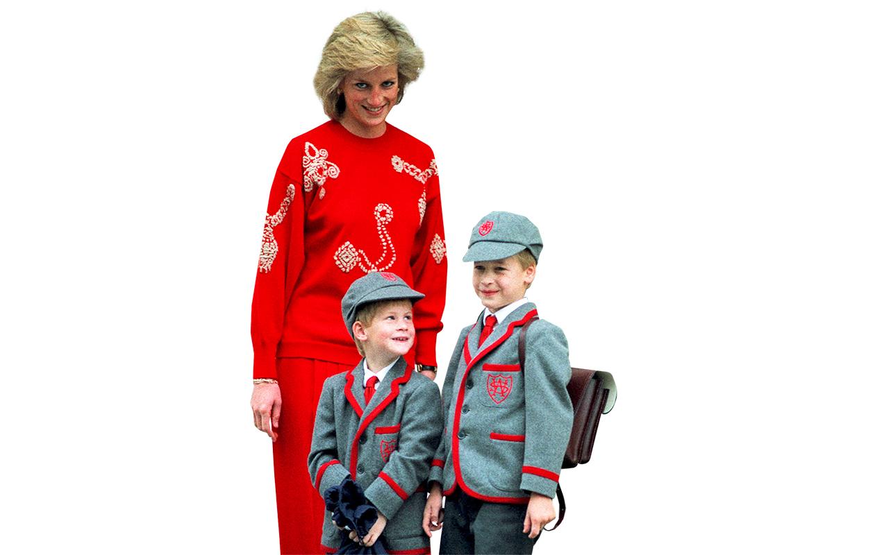 Harry, 5, ja William, 7, aloittamassa uutta kouluvuotta syksyllä 1989.