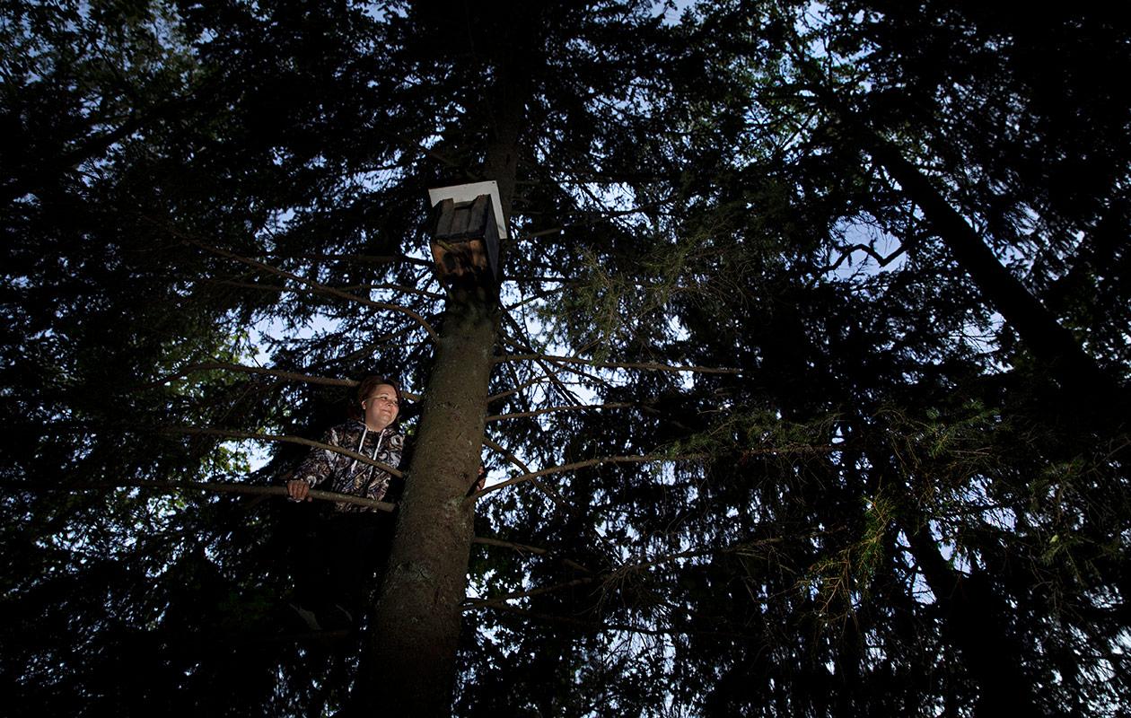 Jenni Lindstedt seisoo puunoksalla.