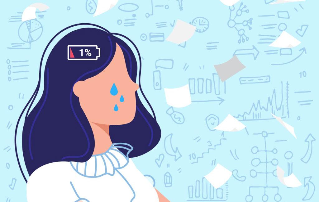 Piirroskuva ihmisestä, jolla on henkisesti akku lopussa ja kyyneliä poskella.